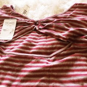 Free People Dresses - Free People Red NWT Small Striped Dress Keyhole